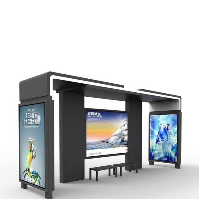 product-YEROO-Outdoor Galvanized Steel Bus Stop Shelter With Smart Advertising Function-img