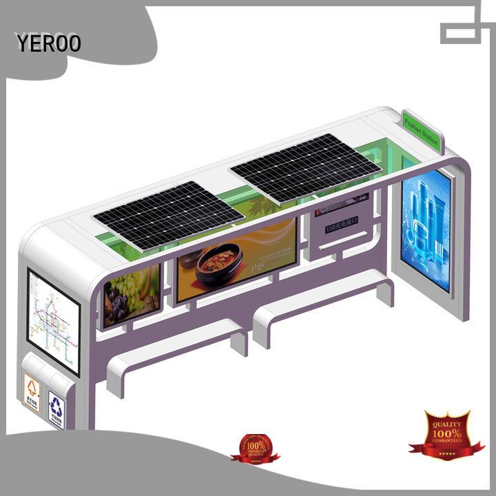YEROO energy-saving solar bus stop powered public furniture