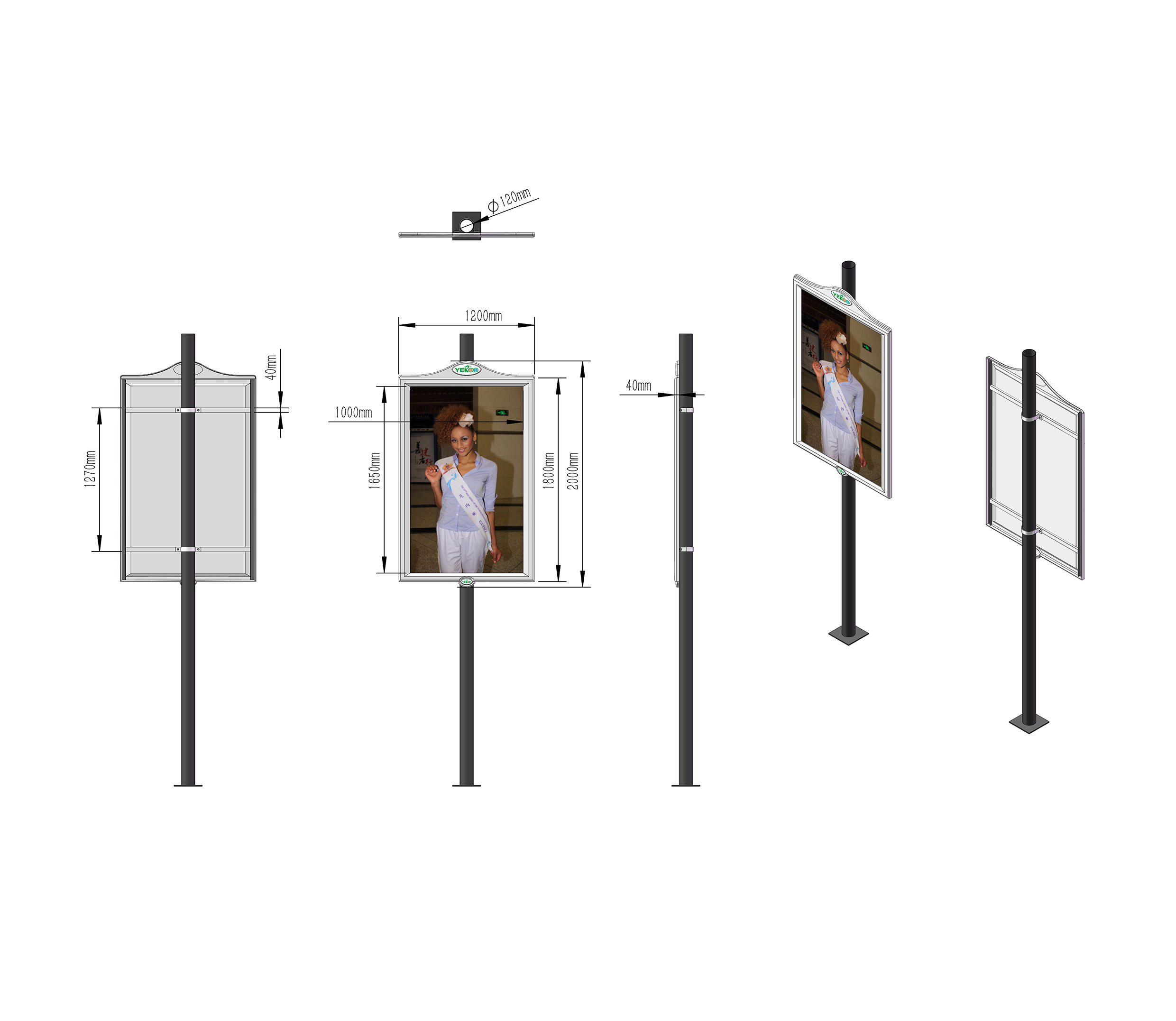 YEROO-Find Pole Led Display Outdoor Furniture Double Sided Lamp Post | Manufacture-2