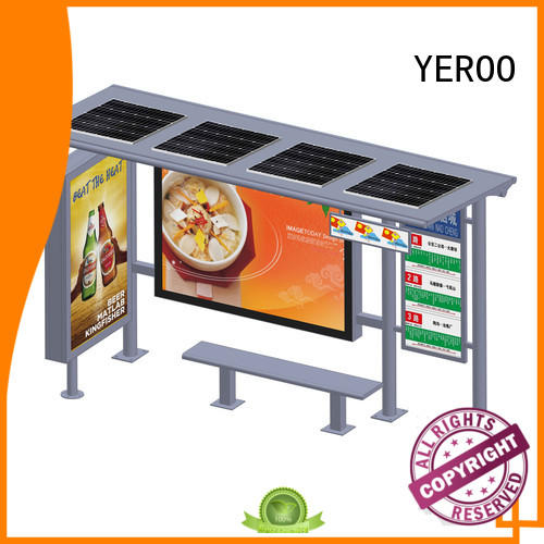YEROO parking lot bus shelter advertising powered for outdoor ads