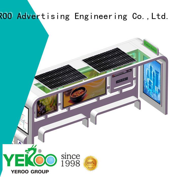 YEROO public furniture bus shelter advertising solar colar for bus stop